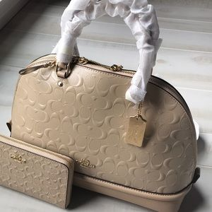 COACH EMBOSSED PATENT LEATHER SATCHEL w WALLET
